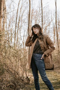 Everlane Cotton Quilted Jacket with Doen Blouse and Everlane Jeans