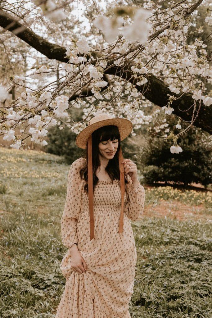 Janessa Leone Agnes Hat with Sezane Lina smocked cottagecore dress
