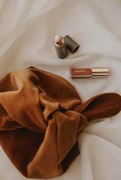 Merit Beauty Flatlay with Shade Slick and Complexion Stick Review