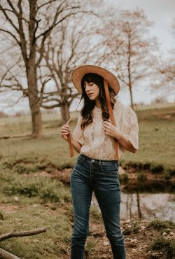 Sezane Jane Blouse with Janessa Leone Hat
