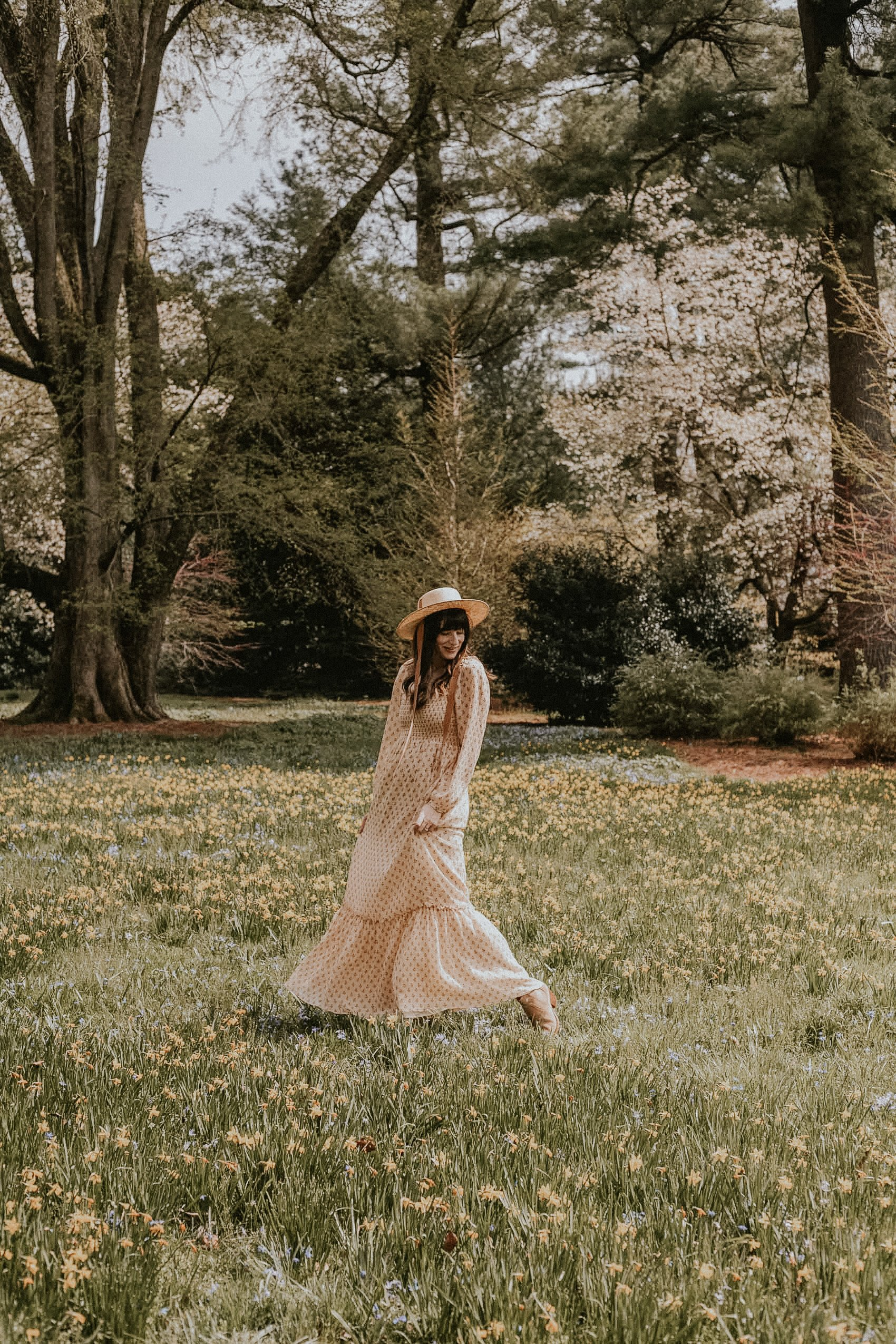 Sezane Floral Maxi Dress with Straw Boater Hat in flower field at Longwood Gardens