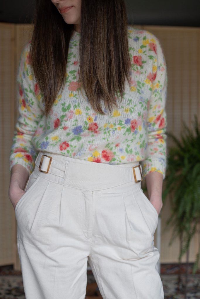 Sezane Francky Trousers with Floral Paulie Sweater