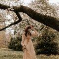 Sezane Maxi Dress Cottage Core Style Dress on woman under tree in field