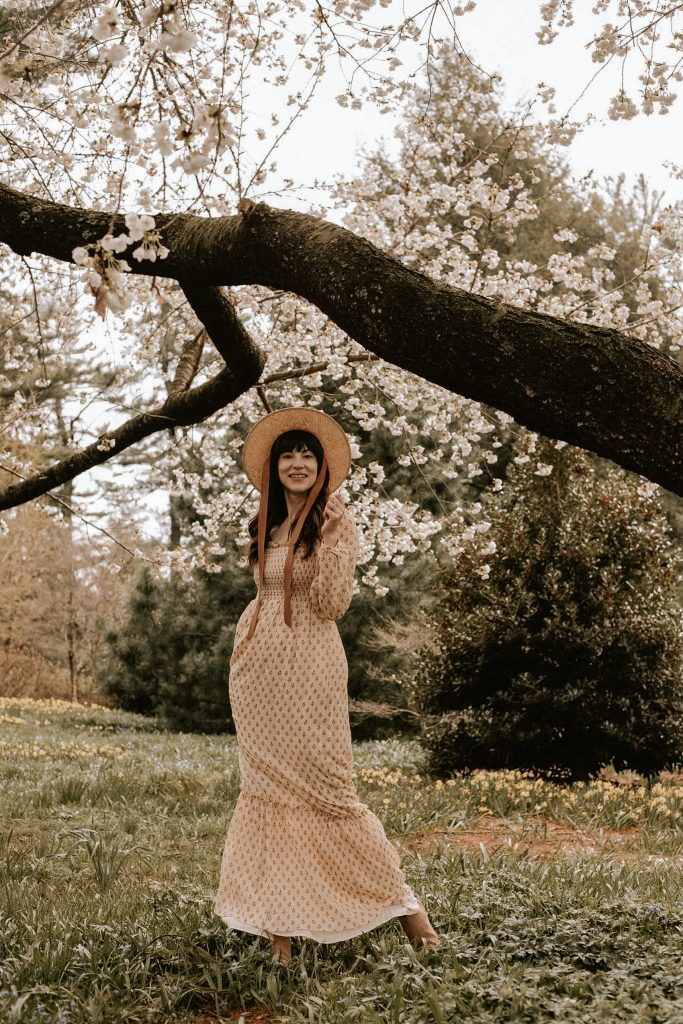 Sezane Maxi dress and straw hat with ties