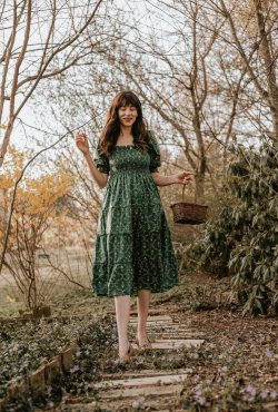 Cottagecore style 'The Nesli' Hill House Nap Dress on woman walking on path in the woods