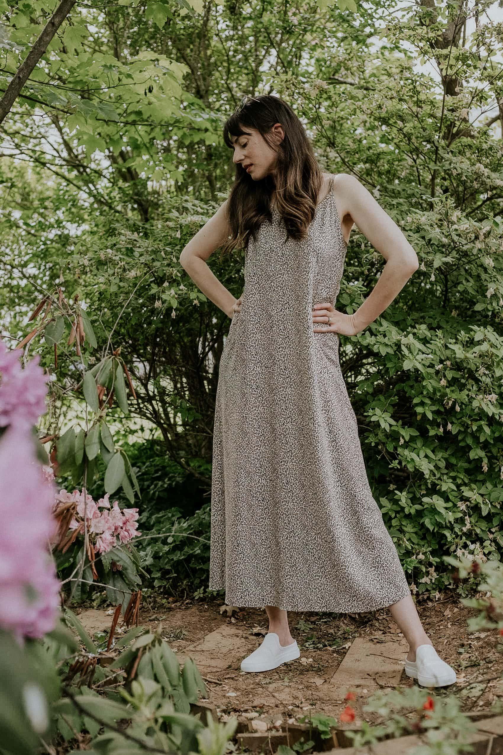Jenni Kayne Leopard Print Slip Dress on Woman Standing in garden