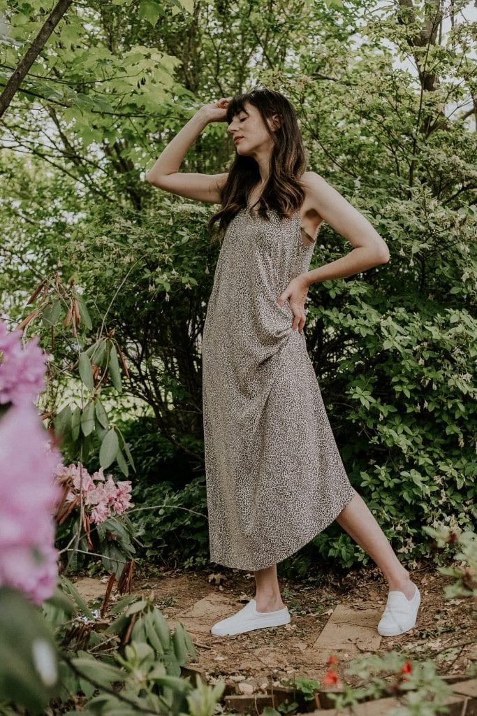 Jenni Kayne Leopard Slip Dress with Canvas Slip on Sneakers