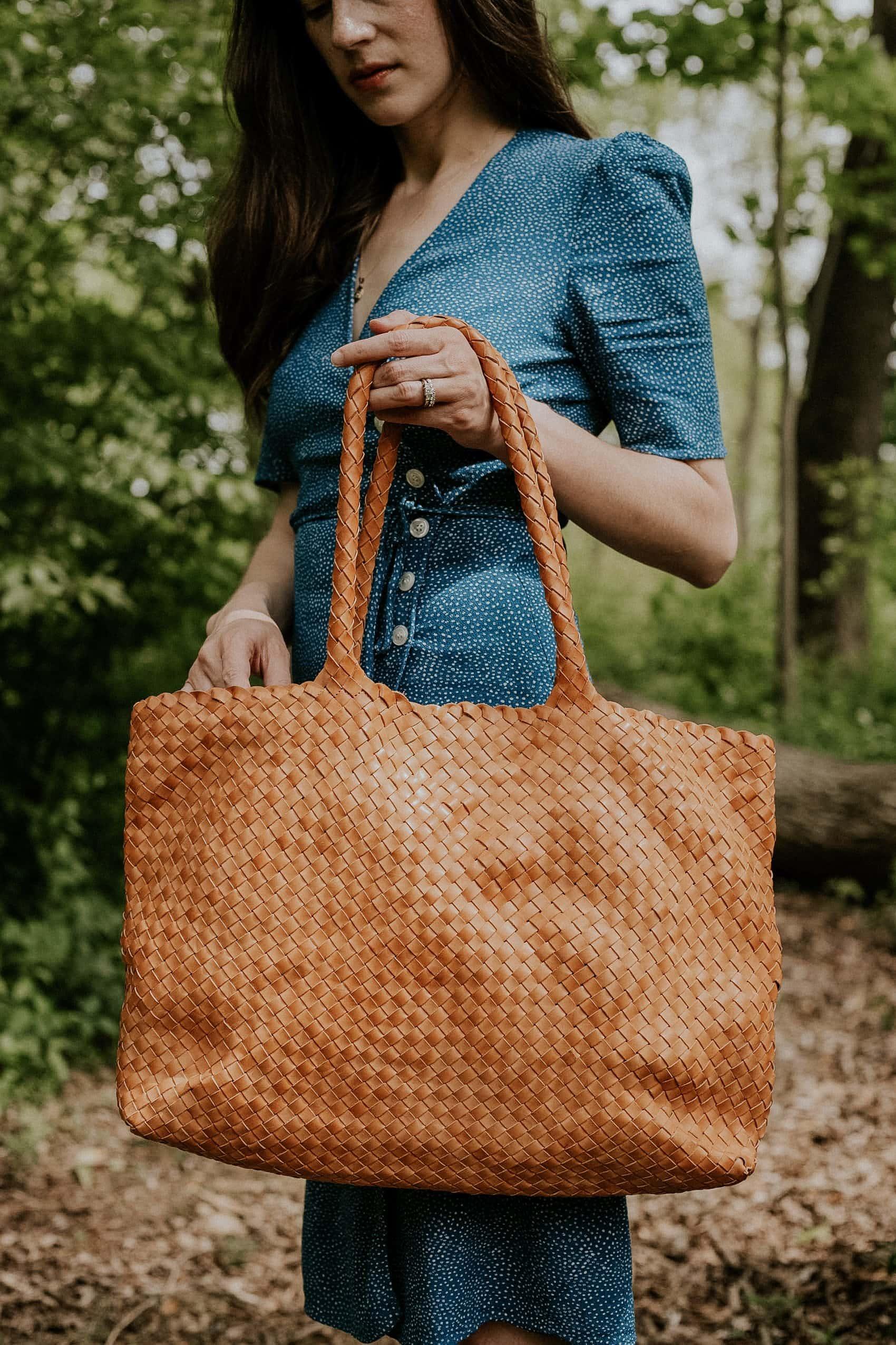 Milaner Classic Elena Bag, Woven Leather Bag