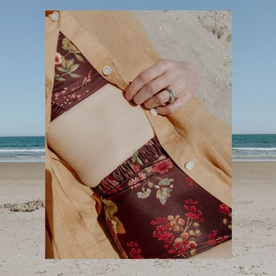 peony swimsuit at the beach