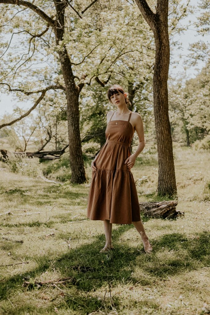 Brown summer midi dress with tie waist and adjustable straps
