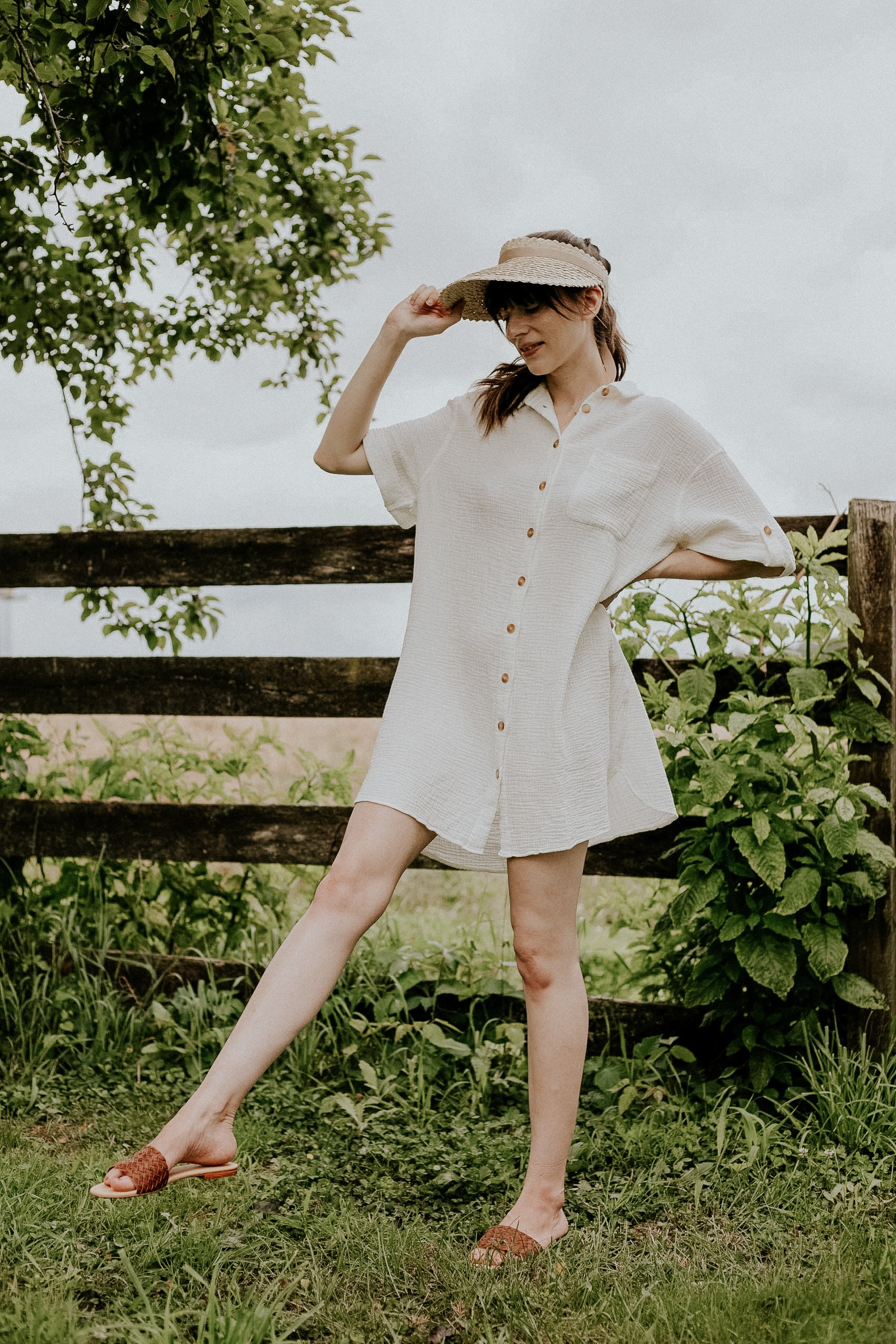Swimwear coverup with Nisolo Isla Woven Slides and Kinn the Label Straw Hat