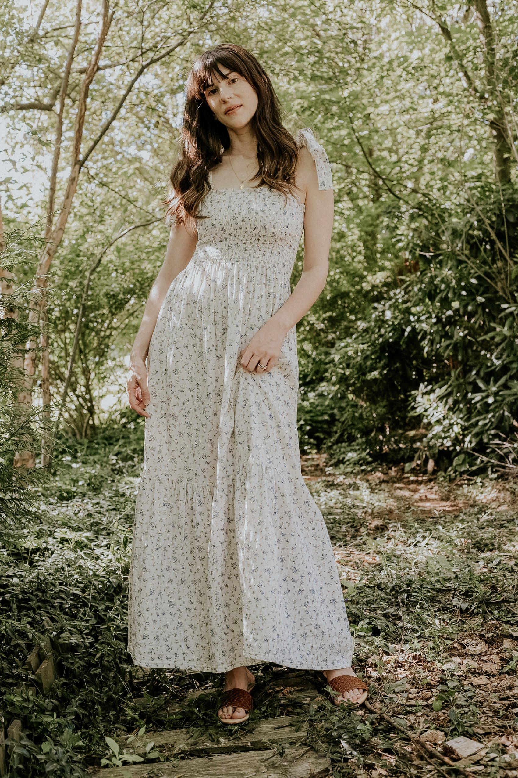 Cottagecore dress from Nothing Fits But with Nisolo Isla Woven Slides