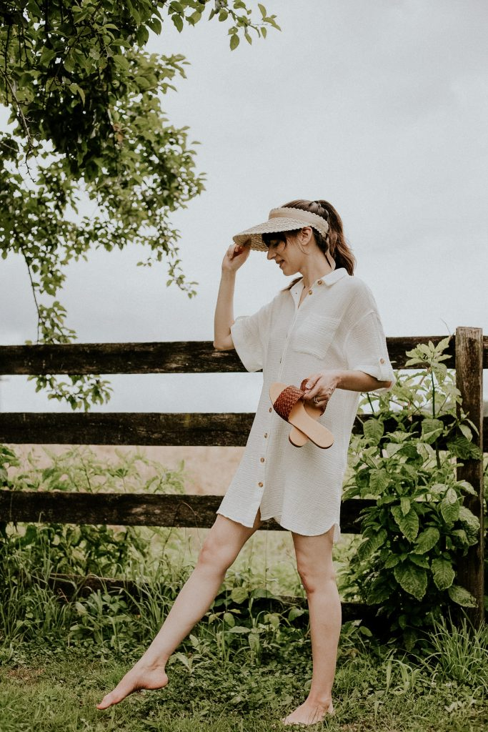 Casual Summer Outfit featuring Sezane dress, Nisolo sandals, and Kin the Label Hat