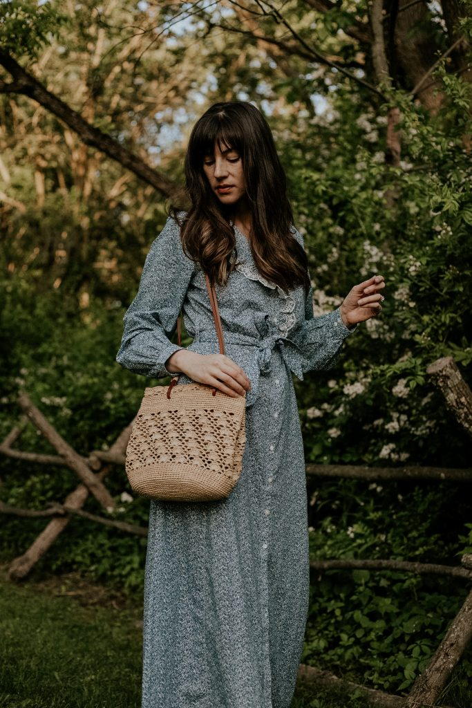 Ralph Weaved Bag from Sezane with Savanah Maxi Dress on woman in woods