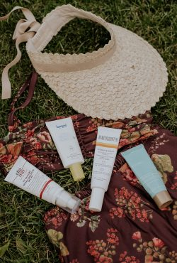 Sunscreens from Biossance, Beautycounter, Supergoop, EltaMD - Best Mineral Sunscreens with bathing suit and visor
