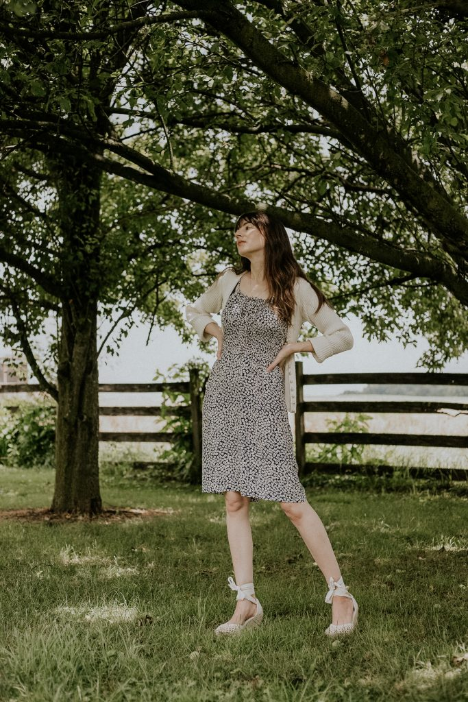 Woman wearing French Girl Summer Outfit ft. Rouje Dress and Sezane Espadrilles