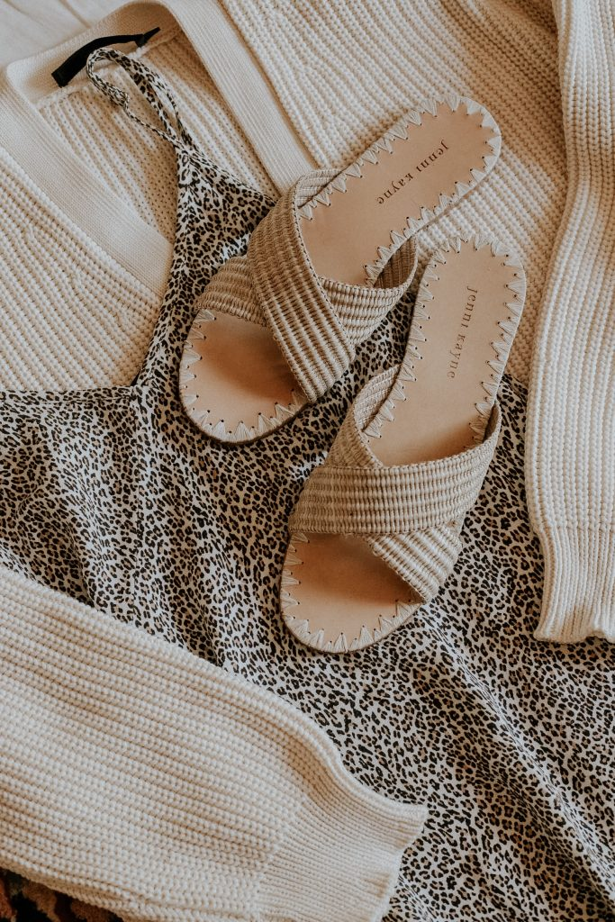 Jenni Kayne Leopard Slip Dress with Raffia Crossover Sandals and Cocoon Cardigan flatlay