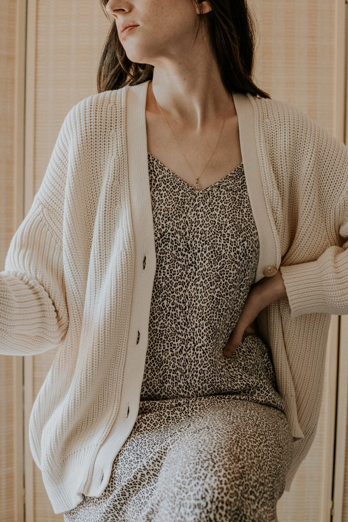 Woman wearing Jenni Kayne Cotton Cocoon Cardigan and Leopard Slip Dress