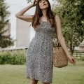 French Girl Summer Outfit, Rouje Cassandre Dress with Sezane raffia bag