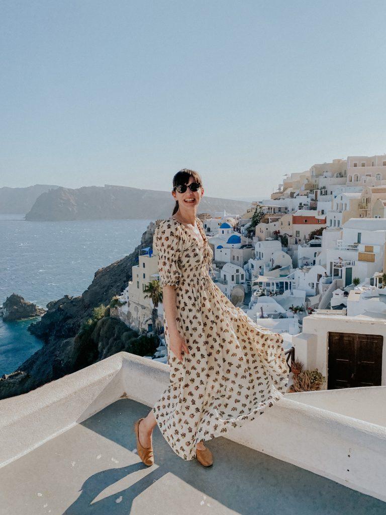 Woman wearing Doen Ischia Dress in Santorini