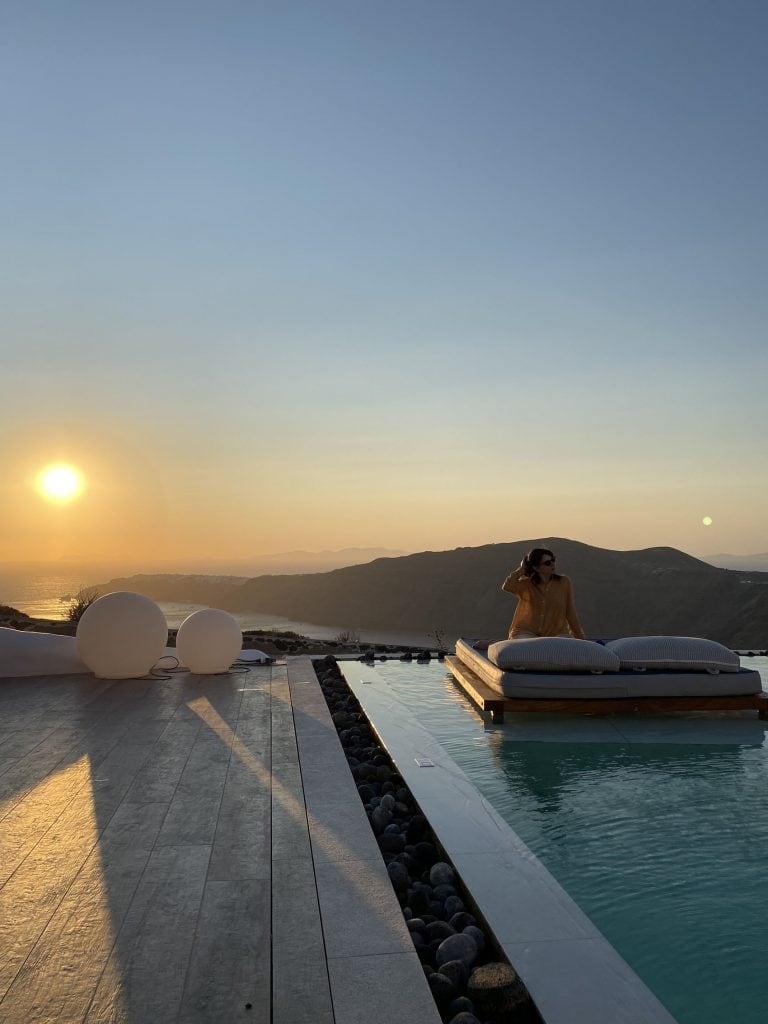 Sunset from Santorini's Balcony Art Houses in Imerovigli Santorini Greece