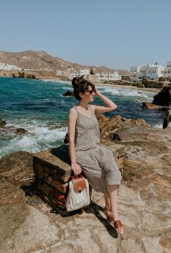 Woman with Longchamp Pliage Backpack in Naxos Greece