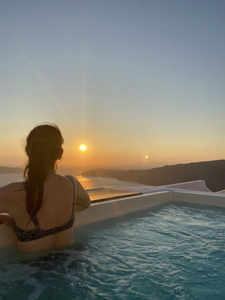 Sunset from private pool at Santorini's Balcony Art Houses in Imerovigli Santorini Greece