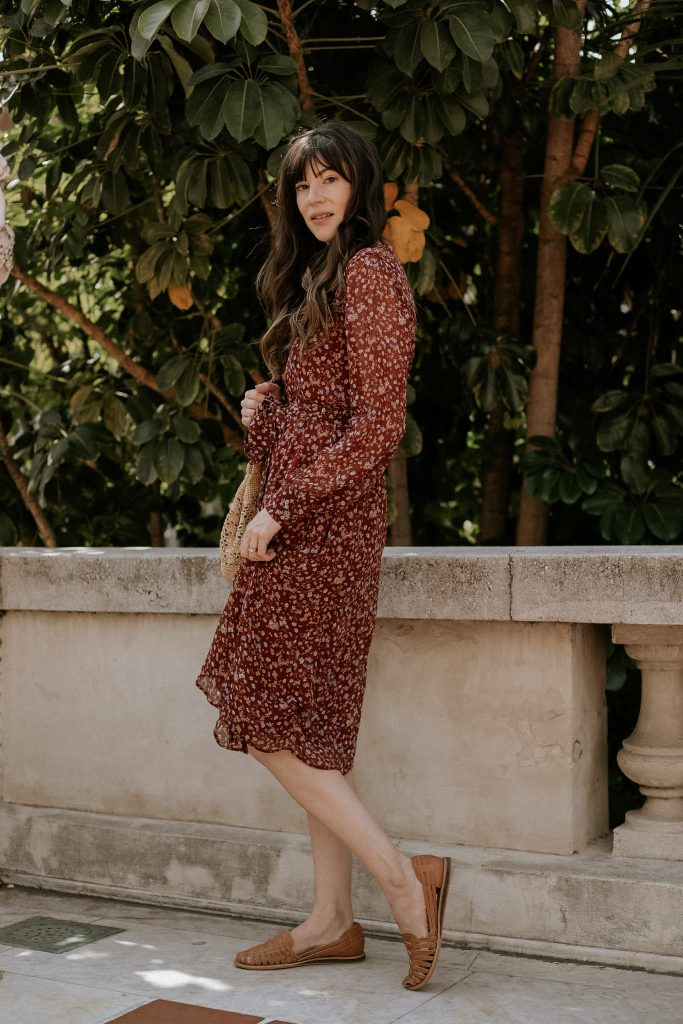 Sezane Fall Floral Dress with Nisolo Huarache Sandals in Almond