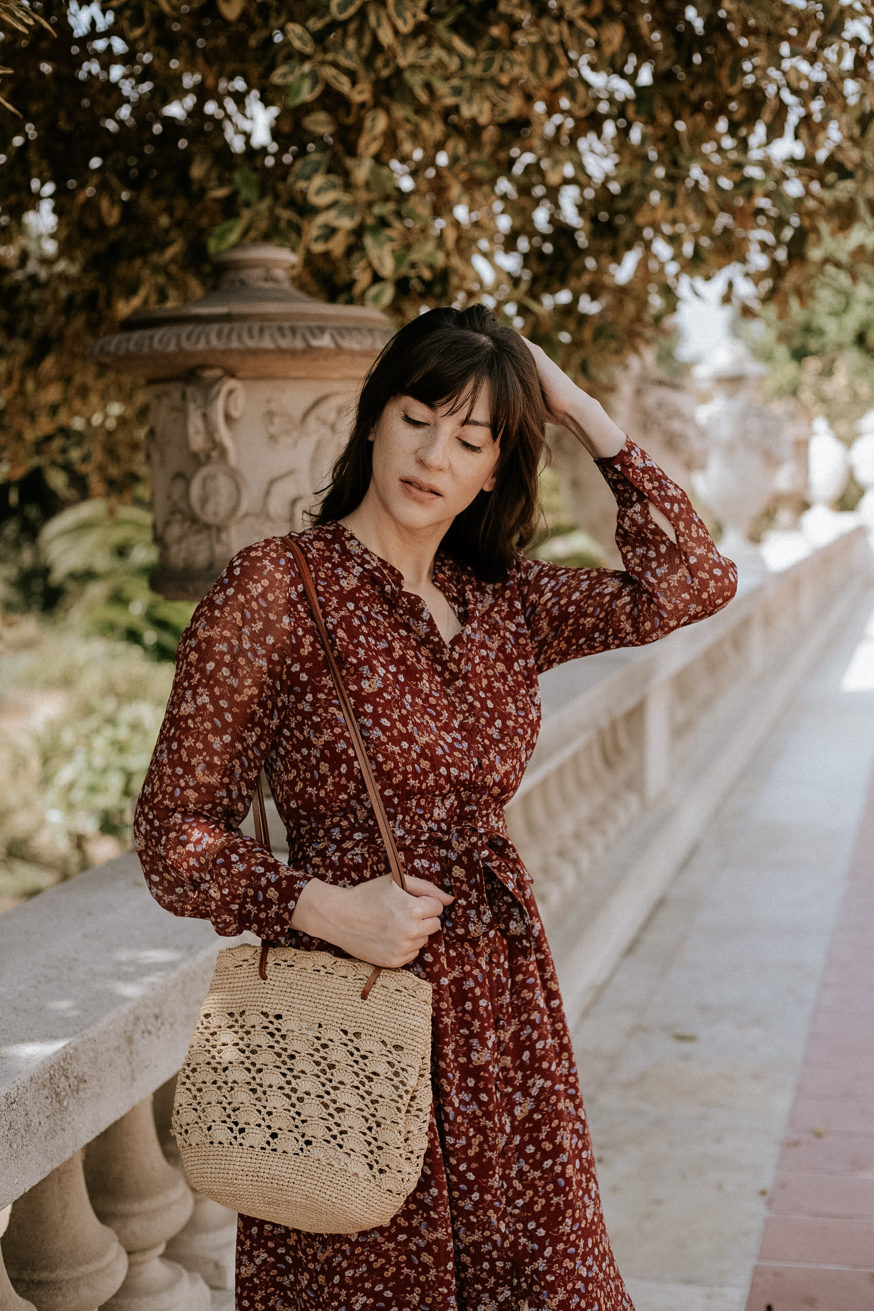 Sezane Alix fall floral dress with Sezane Raffia bag