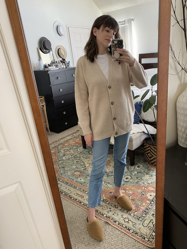 Cashmere Cardigan, Shearling Mules outfit