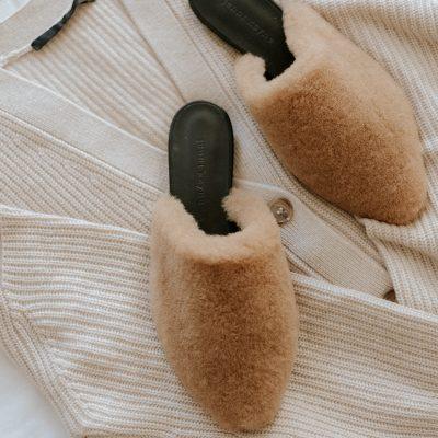 Jenni Kayne Cashmere Cocoon Cardigan + Shearling Mule Review