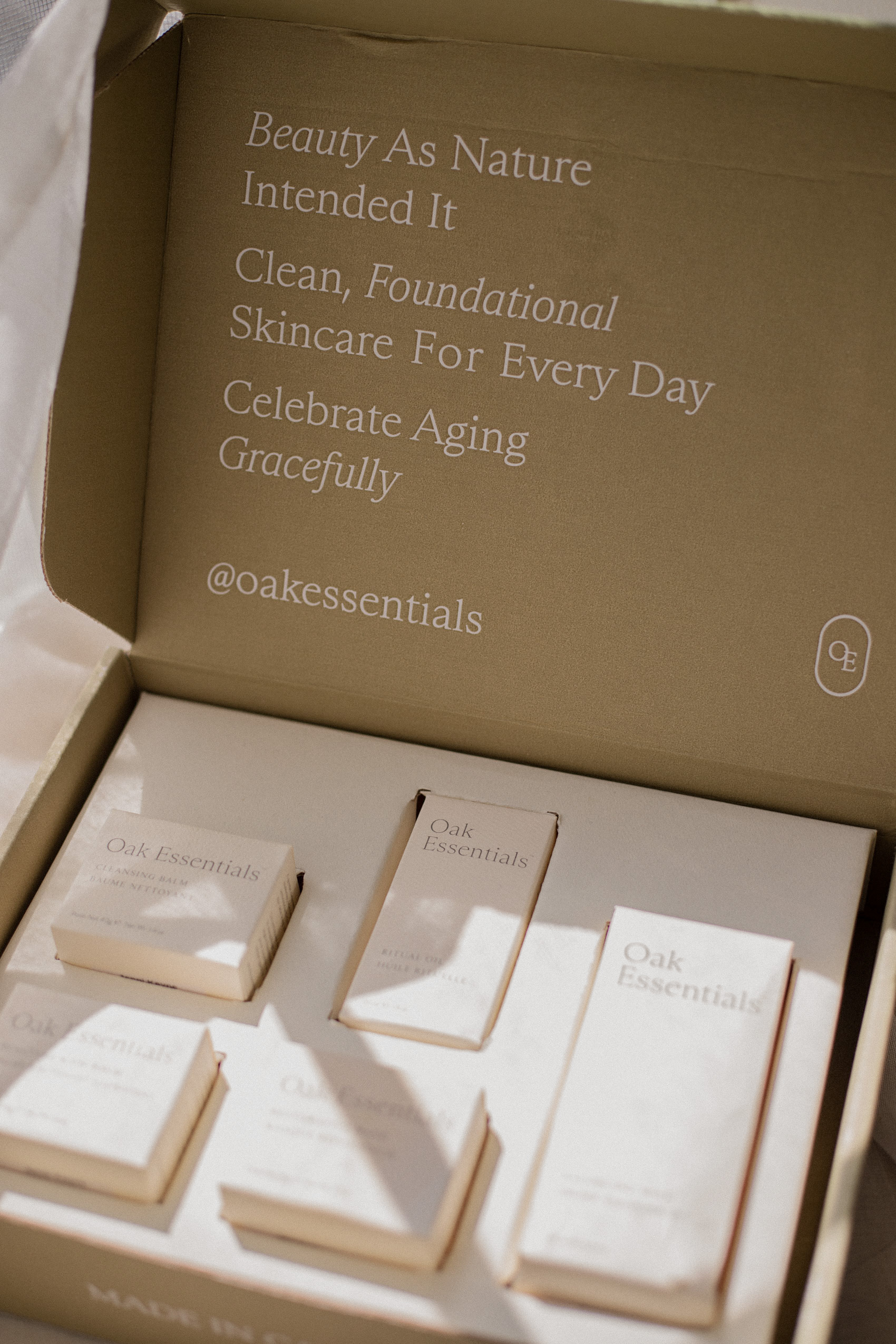 Oak Essentials Packaging: A skincare line from Jenni Kayne