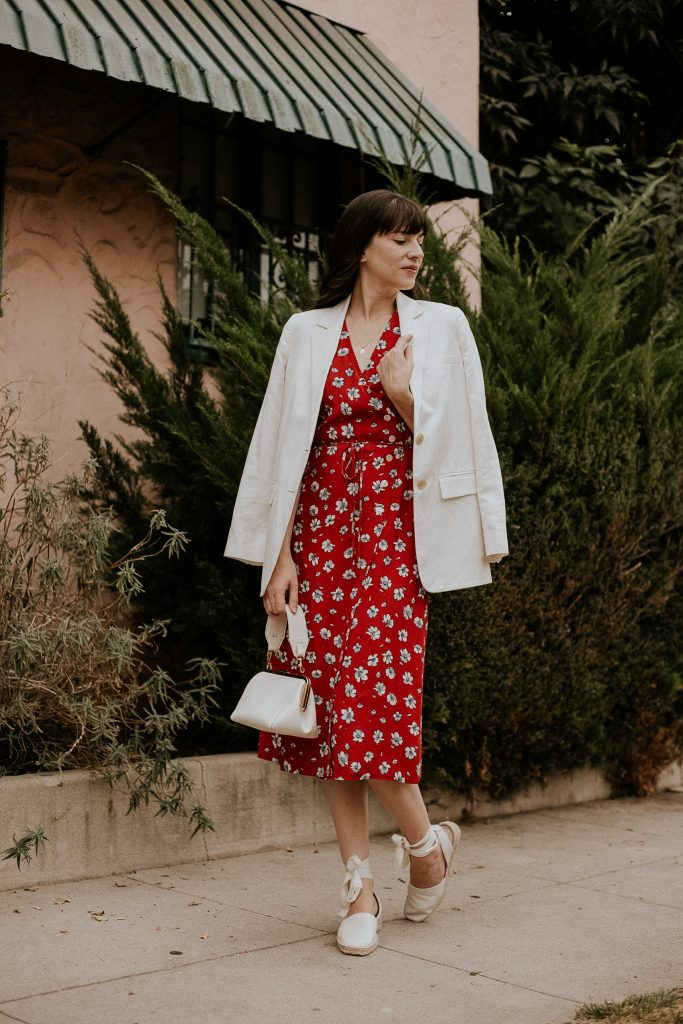 Red floral wrap dress with white linen blazer and espadrilles