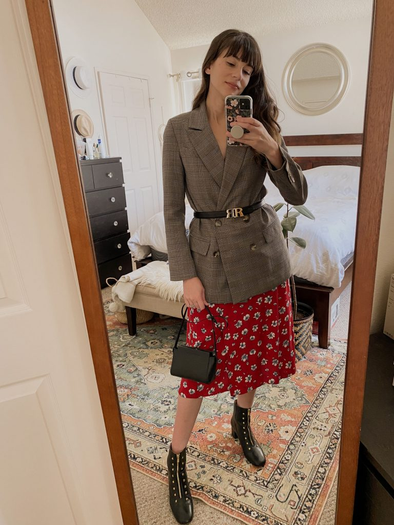 Midi Dres styled with a belted blazer and boots for fall