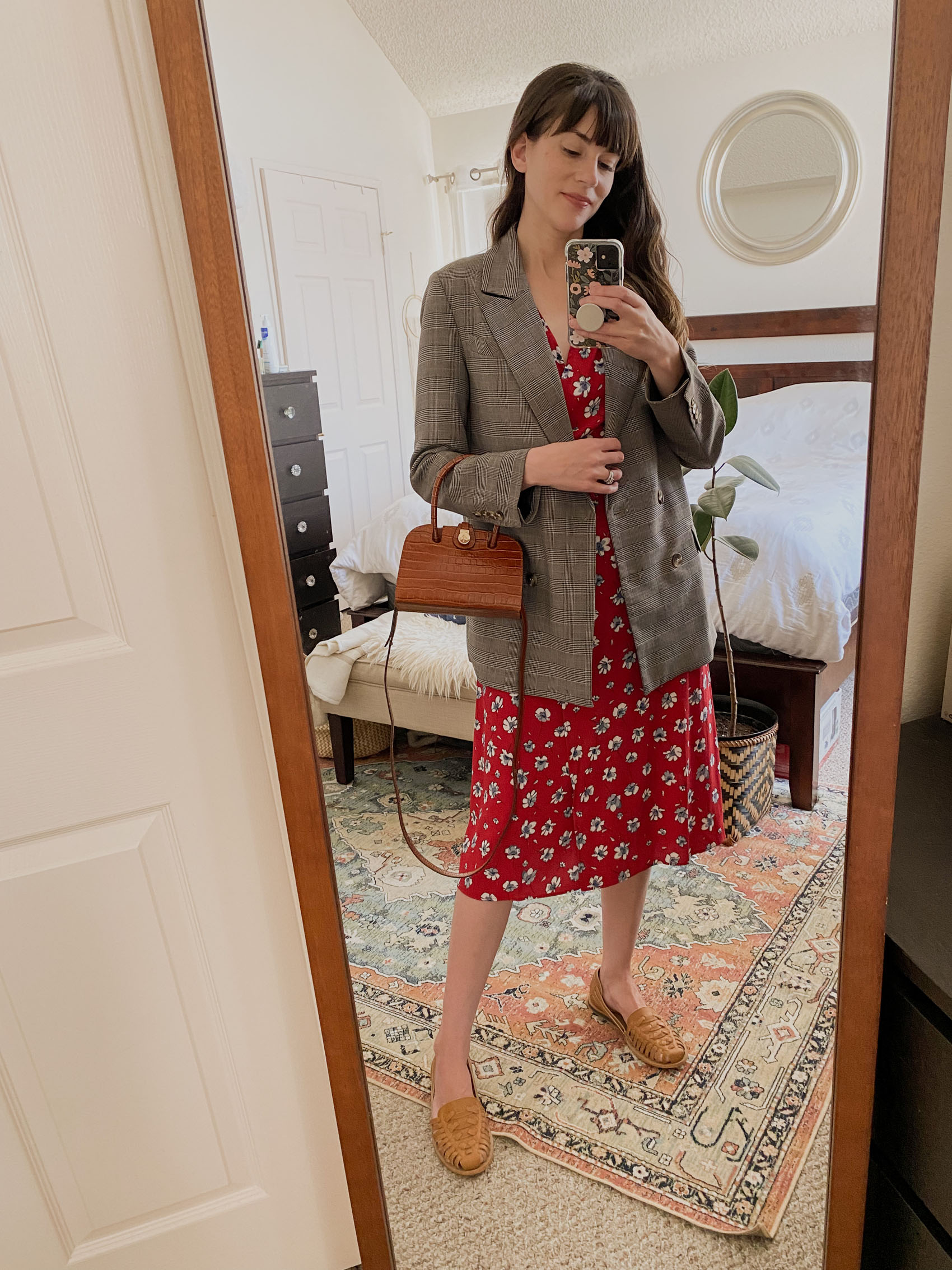 Rouje Gabin Dress with a blazer and Nisolo Huaraches
