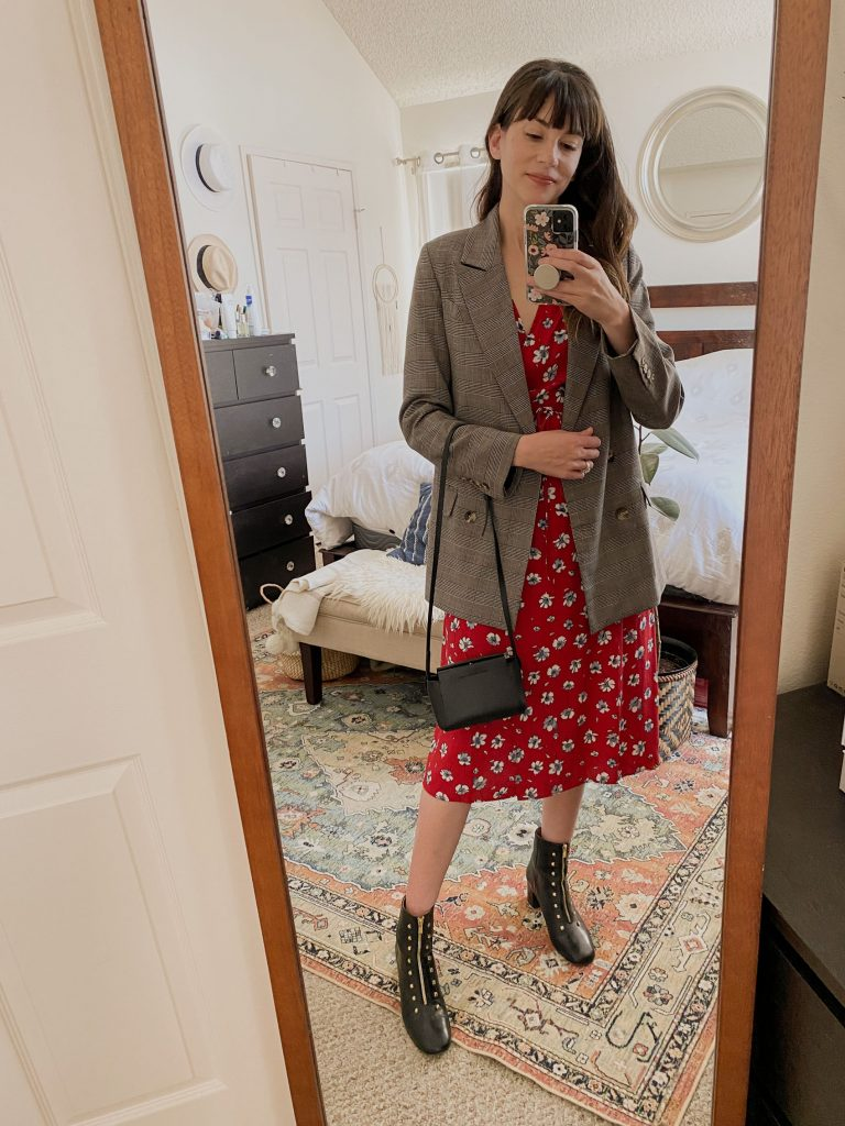 Rouje Dress with Blazer and boots