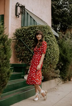 Rouje Gabin Red Floral Dress with Espadrilles and white mini bag
