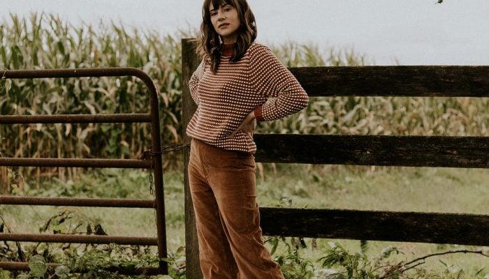 Pumpkin Spice Outfit: Corduroy Pants + Textured Cotton Sweater
