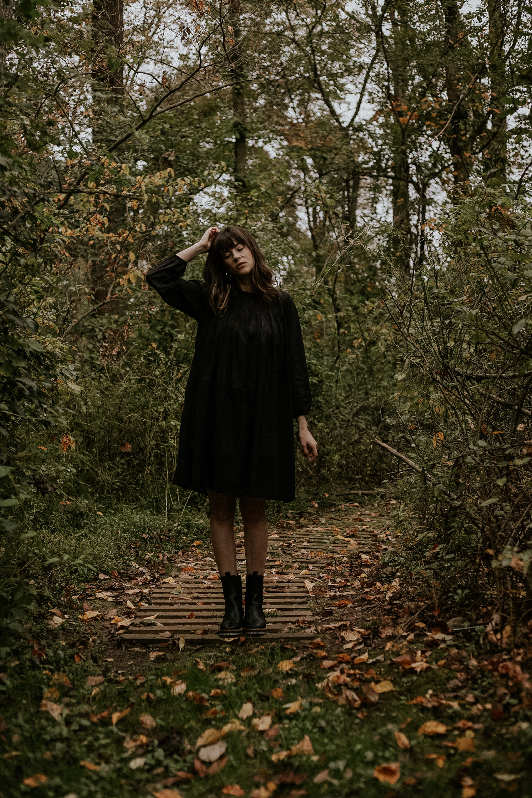 An all black fall outfit ft. Laude the Label Juliette Dress with Freda Salvador Andy Boots
