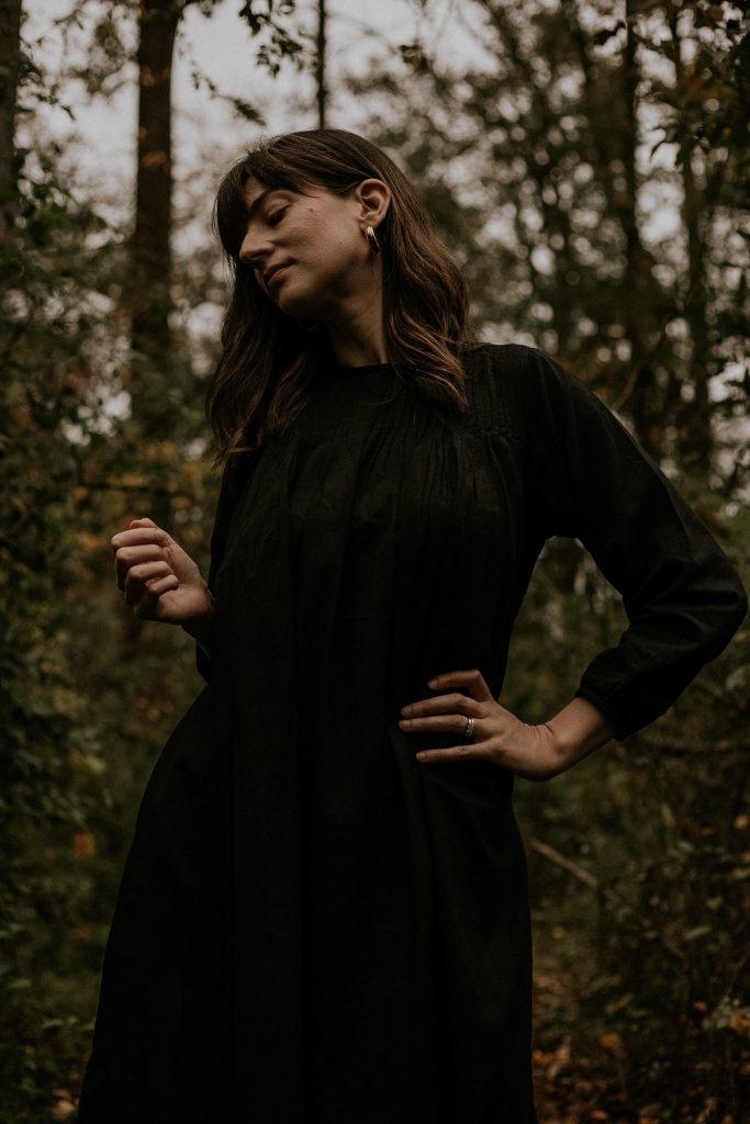 Laude the Label black Juliette Dress with Mejuri Earrings